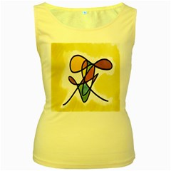 Art Abstract Exhibition Colours Women s Yellow Tank Top