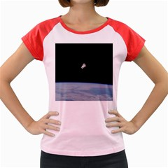 Astronaut Floating Above The Blue Planet Women s Cap Sleeve T-Shirt