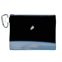 Astronaut Floating Above The Blue Planet Canvas Cosmetic Bag (XL)