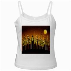 Buildings Skyscrapers City White Spaghetti Tank