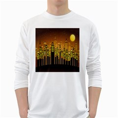 Buildings Skyscrapers City White Long Sleeve T-Shirts