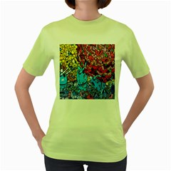 Colorful Graffiti Art Women s Green T-Shirt