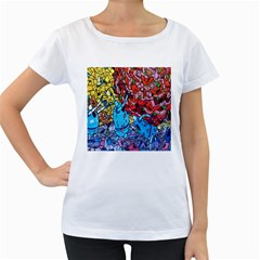 Colorful Graffiti Art Women s Loose-Fit T-Shirt (White)