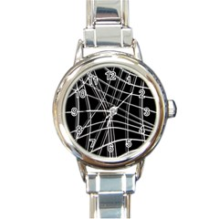 Black and white warped lines Round Italian Charm Watch