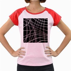 Black and white warped lines Women s Cap Sleeve T-Shirt