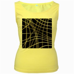 Black and white warped lines Women s Yellow Tank Top