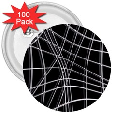 Black and white warped lines 3  Buttons (100 pack)