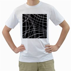 Black and white warped lines Men s T-Shirt (White) (Two Sided)