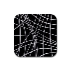 Black and white warped lines Rubber Coaster (Square)
