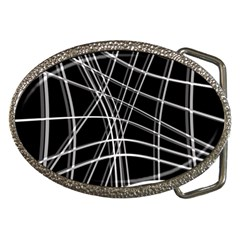 Black and white warped lines Belt Buckles