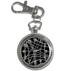 Black and white warped lines Key Chain Watches