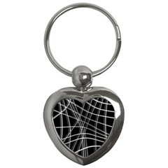 Black and white warped lines Key Chains (Heart)