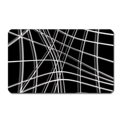 Black and white warped lines Magnet (Rectangular)