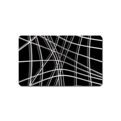 Black and white warped lines Magnet (Name Card)