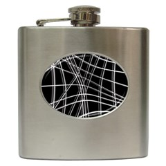 Black and white warped lines Hip Flask (6 oz)