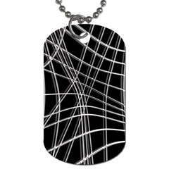Black and white warped lines Dog Tag (Two Sides)