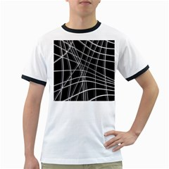 Black and white warped lines Ringer T-Shirts