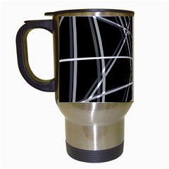 Black and white warped lines Travel Mugs (White)