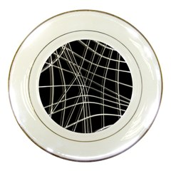 Black and white warped lines Porcelain Plates