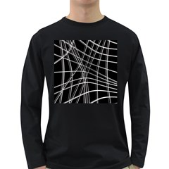 Black and white warped lines Long Sleeve Dark T-Shirts