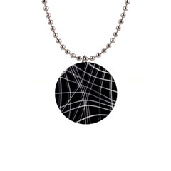 Black and white warped lines Button Necklaces