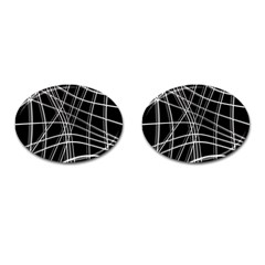 Black and white warped lines Cufflinks (Oval)