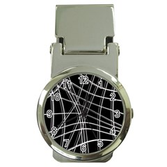Black and white warped lines Money Clip Watches