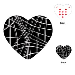 Black and white warped lines Playing Cards (Heart)