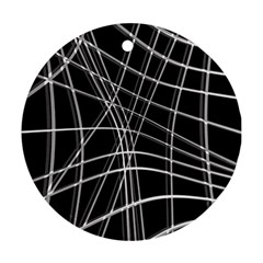 Black and white warped lines Round Ornament (Two Sides)