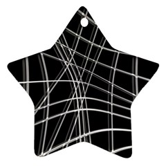 Black and white warped lines Star Ornament (Two Sides)