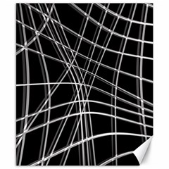Black and white warped lines Canvas 8  x 10