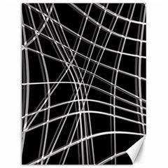 Black and white warped lines Canvas 12  x 16