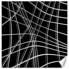 Black and white warped lines Canvas 16  x 16