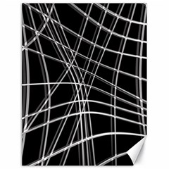 Black and white warped lines Canvas 18  x 24