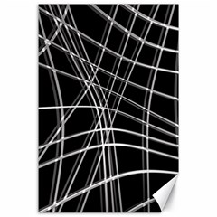 Black and white warped lines Canvas 24  x 36