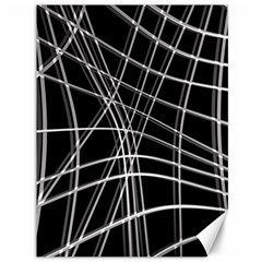 Black and white warped lines Canvas 36  x 48