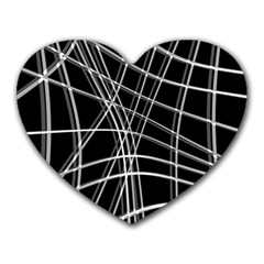 Black and white warped lines Heart Mousepads