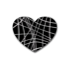Black and white warped lines Heart Coaster (4 pack)