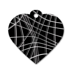 Black and white warped lines Dog Tag Heart (One Side)