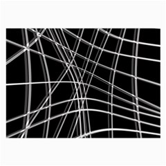 Black and white warped lines Large Glasses Cloth