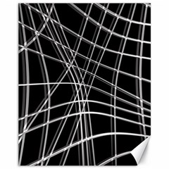 Black and white warped lines Canvas 11  x 14