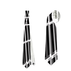 Black and white warped lines Neckties (One Side)