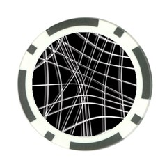 Black and white warped lines Poker Chip Card Guards