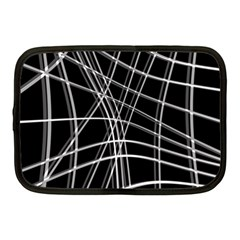 Black and white warped lines Netbook Case (Medium)