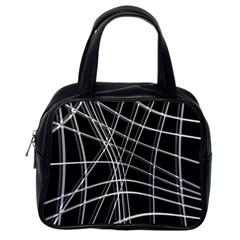 Black and white warped lines Classic Handbags (One Side)