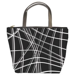 Black and white warped lines Bucket Bags