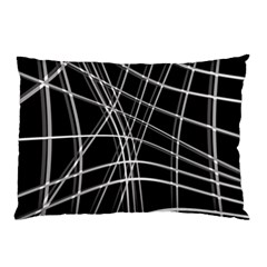 Black and white warped lines Pillow Case