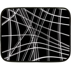 Black and white warped lines Double Sided Fleece Blanket (Mini)
