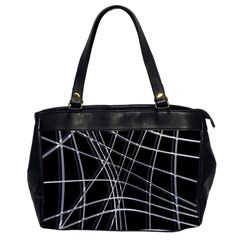 Black and white warped lines Office Handbags