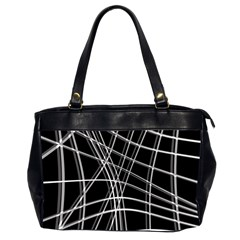 Black and white warped lines Office Handbags (2 Sides)